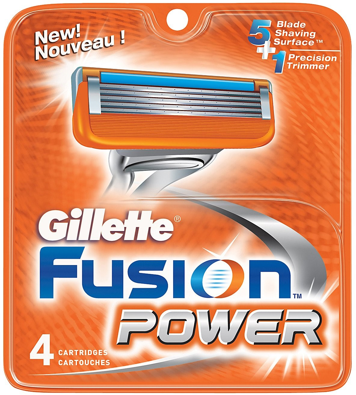 Gillette Fusion Power Cartridges 4 Each (Pack of 6)