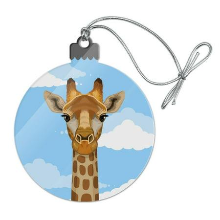 Cute Giraffe and Sky Zoo Animal Safari Acrylic Christmas Tree Holiday Ornament ()