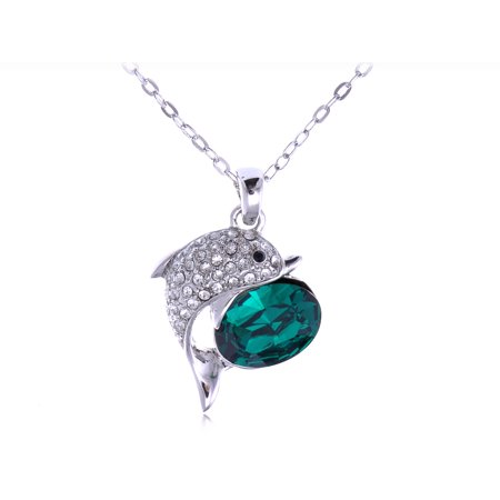 Crystal Element Fashion Oval Stone Jumping Dolphin Pendant
