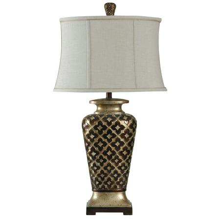 Table Lamp - Barbados Bronze & Old Platinum Finish - Taupe Softback Fabric Shade
