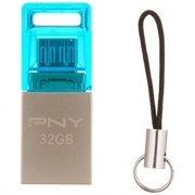 PNY DUO-LINK METAL OTG 32GB USB 2.0 FLASH DRIVE-STEEL GRAY/BLUE