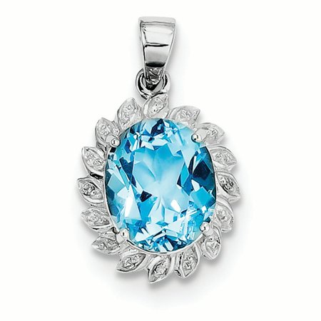 Sterling Silver Light Swiss Blue Topaz Diamond Charm Pendant](Light Blue Diamond)