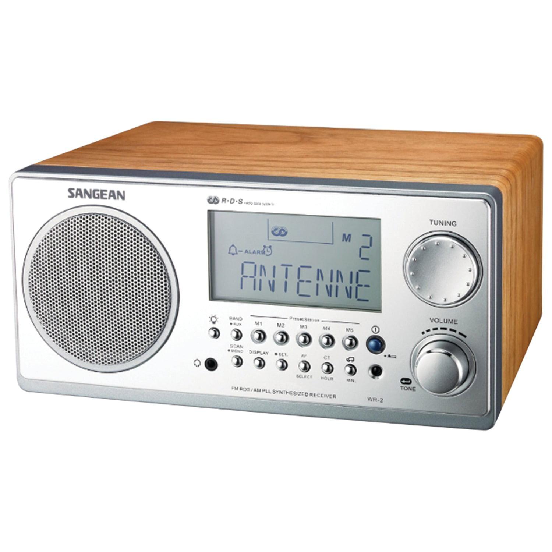 Sangean WR2WAL Digital AM/FM Stereo System with LCD & Alarm Clock (Walnut)
