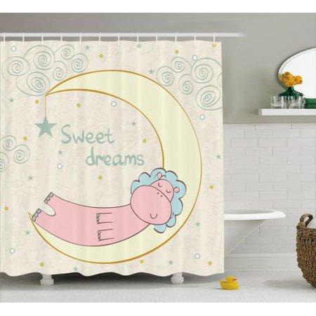 Hippo Shower Curtain Cute Cartoon Hippopotamus Sleeping On The Moon In Sky Full Of