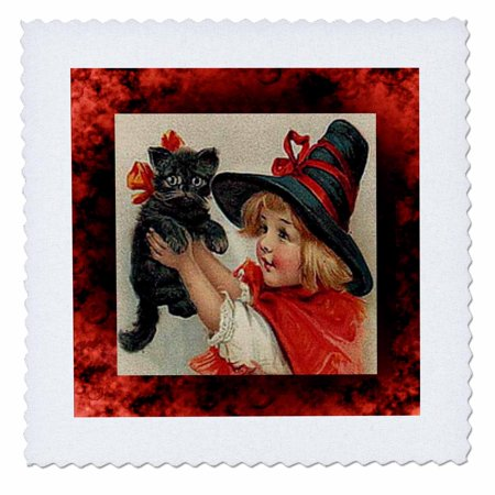 3dRose Vintage Halloween Little Girl Holding Black Cat - Quilt Square, 10 by - Halloween Cat Arts And Crafts