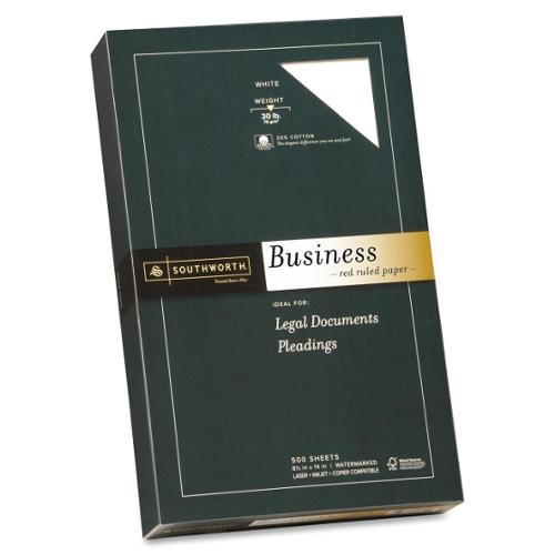 """Southworth Red Ruled Business Paper - Legal - 8.50"""" x 14"""" - 20 lb Basis Weight - Recycled - 25% Recycled Content - Wove"""