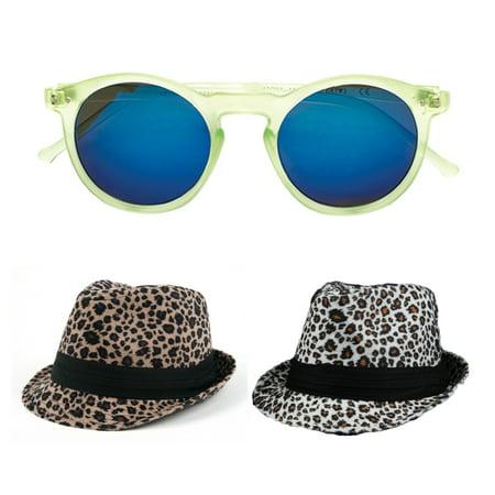 POP Fashionwear  Winter Leopard Print Fashion 2-piece Fedora Set w/Bonus Sunglasses 1 Tan and 1 White Fedora and (Print Sunglasses)