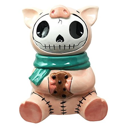 Furry Bones Bacon Ceramic Cookie Jar Collectible Kitchen Hosting Dining Accessory Cute Porky Pig Skeleton (Vintage Kitchen Collectibles)