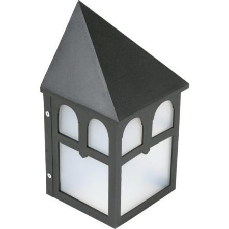 Outdoor Glacial Wall Fixture, Black Poly Housing, Frosted Acrylic Diffuser - Frosted Acrylic Diffuser