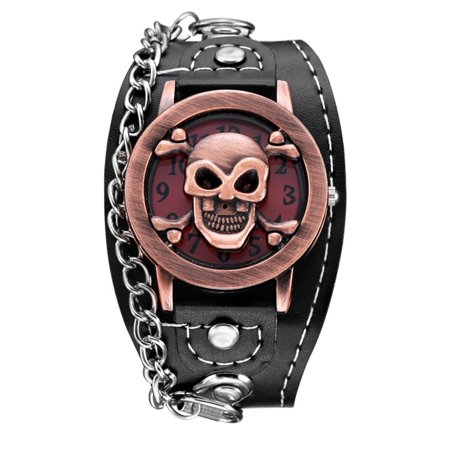 Crossbone and Skull  Antique Copper Color Wide Band Bike Gothicr Glow in Dark Hands Two Styles Watch-354 - Glow Bands Online