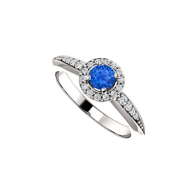 0.75CT 14K White Gold Brilliant Cut Sapphire Cubic Zirconia Halo Ring, Size 6 - image 1 of 1
