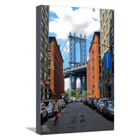 3 Light Cobblestone Wall (Manhattan Bridge DUMBO Brooklyn Cobblestone Street Photo Poster Stretched Canvas Print Wall Art )
