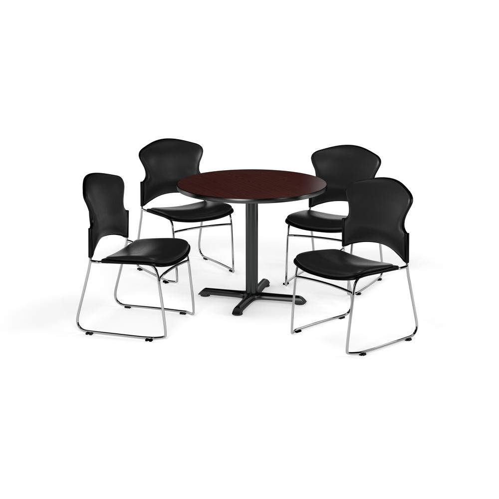 """OFM Multi-Use Break Room Package, 42"""" Round Table with Vinyl Stack Chairs, Cherry Finish with X-Style Pedestal Base and Teal Seats (PKG-BRK-067)"""