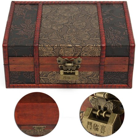 "LuckyFine Handmade Decorative Wooden Jewelry Box With Free Lock & Key Jewelry Organizer Keepsake Box Treasure Chest Trinket Holder  9"" x 6.3"" Anniversary Gifts"