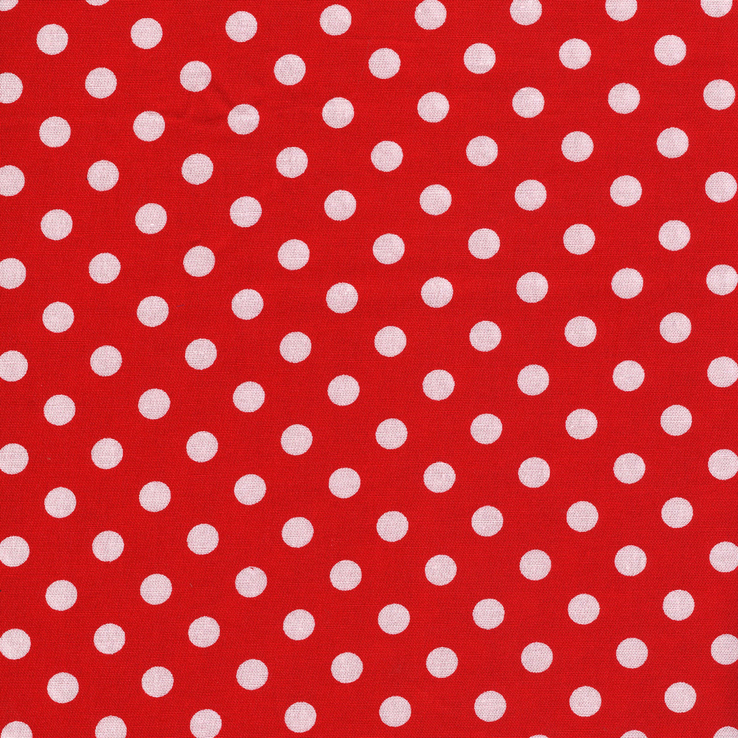 SHASON TEXTILE (3 Yards cut) 100% COTTON PRINT QUILTING FABRIC, RED / WHITE BIG DOTS