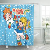 SUTTOM Colorful 80S Classic Rainbow Brite and Twink Sprite Cartoon Shower Curtain 66x72 inch
