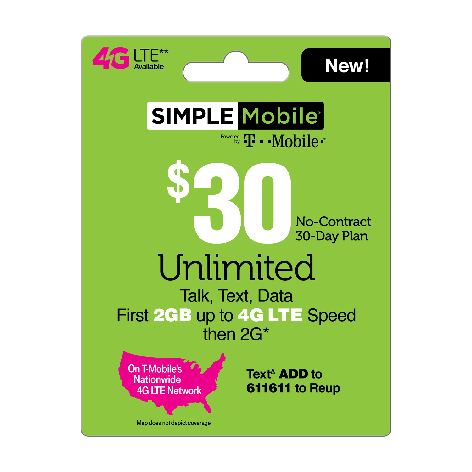 Simple Mobile $30 Unlimited Talk, Text and Data (First 2GB up to 4G LTE† then 2G*) 30-Day Plan (Email Delivery)