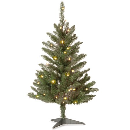 National Tree Pre-Lit 3 Kingswood Fir Wrapped Pencil Artificial Christmas Tree with 50 Clear Lights