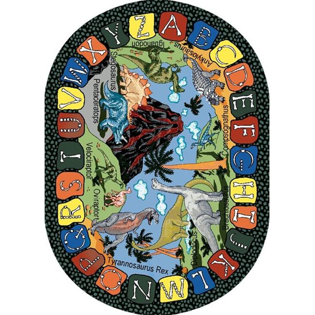 Joy Carpets 1459CC We Dig Dinosaurs 5 ft. 4 inch x 7 ft. 8 inch Oval 100 Pct.  STAINMASTER Nylon Machine Tufted- Cut Pile