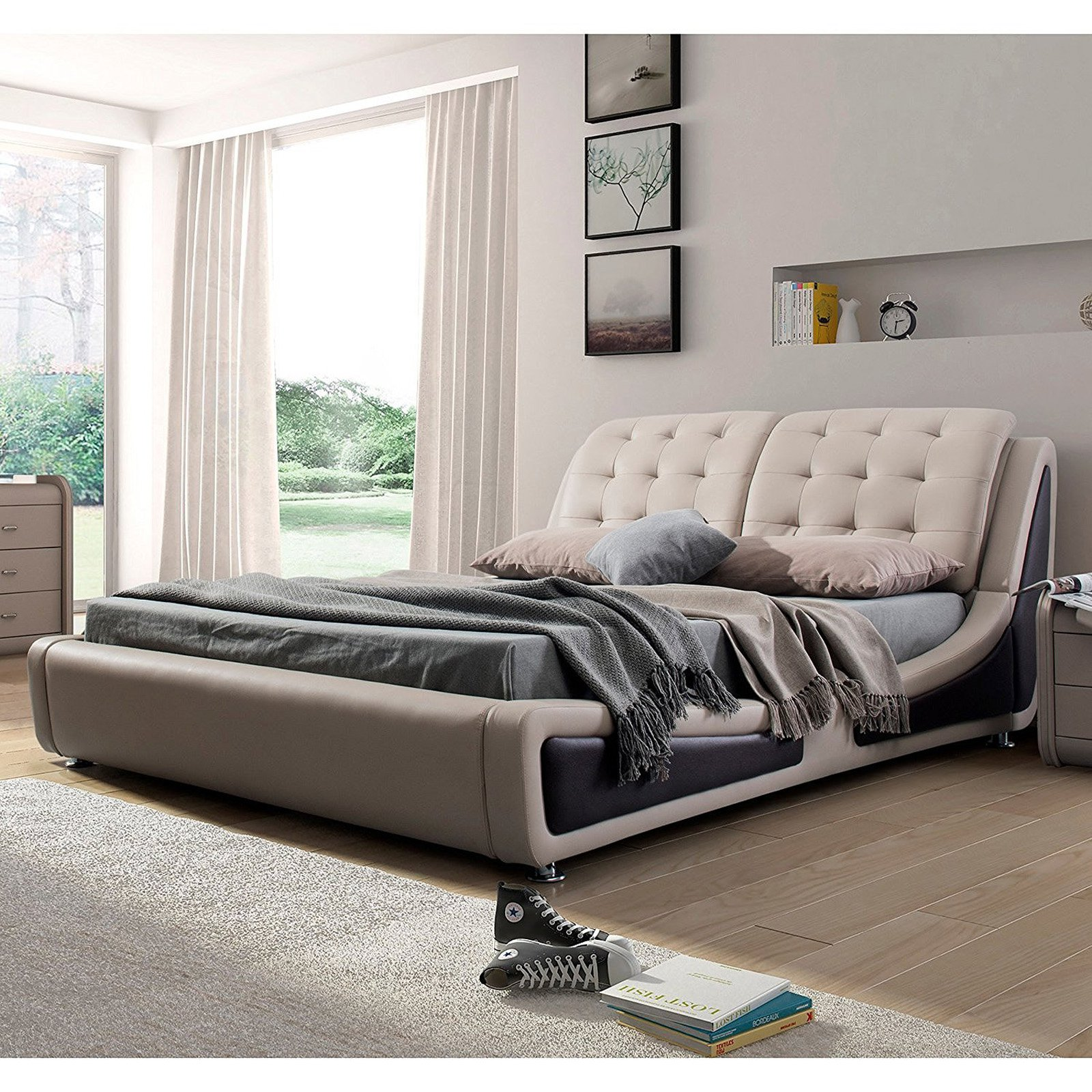 Olivia Contemporary Button Tufted Faux Leather Platform Bed, Beige Brown, Eastern King by U.S. Pride Furniture