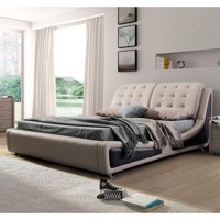 Olivia Contemporary Button Tufted Faux Leather Platform Bed, Beige/Brown, Eastern King