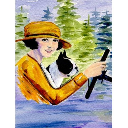 Carolines Treasures SS8534CHF Woman driving with her Boston Terrier Canvas Flag - House Size, 28 x 40 in. - image 1 de 1