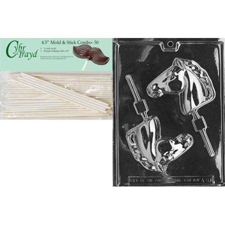 Cybrtrayd 45St50-A087 Horse Head Lolly Animal Chocolate Candy Mold with 50 4.5-Inch Lollipop Sticks