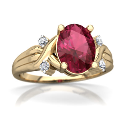 Pink Tourmaline Cross-Over Ring in 14K Yellow Gold by