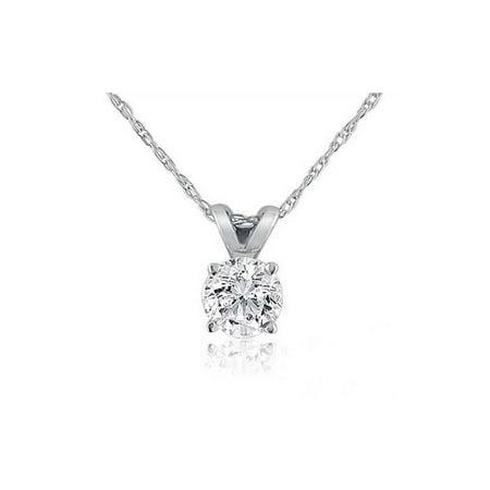 1/6ct Solitaire Real 14K Diamond Pendant Necklace