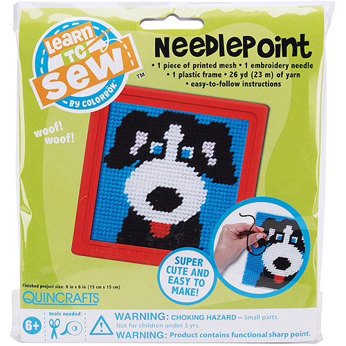 Quincrafts Learn to Sew Needlepoint Kit, Dog