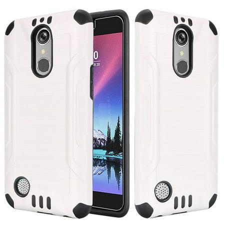 Insten For LG K20 Plus/K20 V/V5 White Hard Silicone Hybrid Rubber Case