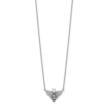 Lex & Lu 14k White Gold Diamond Bee Necklace LAL2701 (Queen Bee Necklace)