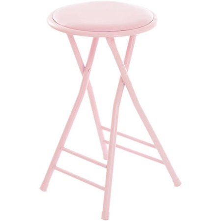 Pink Butterfly Stool - Folding Stool – Heavy Duty 24-Inch Collapsible Padded Round Stool with 300 Pound Limit for Dorm, Rec or Gameroom by Trademark Home (Pink)