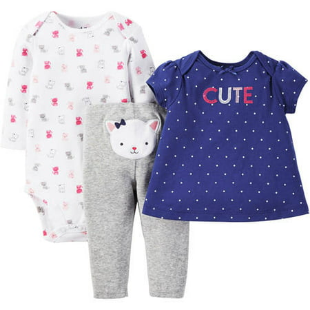 f209fcae9acf Newborn Baby Girl T Shirt, Bodysuit and Pant Outfit Set 3 Pieces