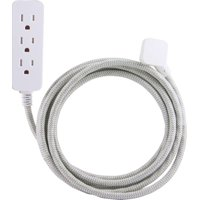 Cordinate Decor 3-Outlet 10ft. Braided Extension Cord, Surge Protector, 37915