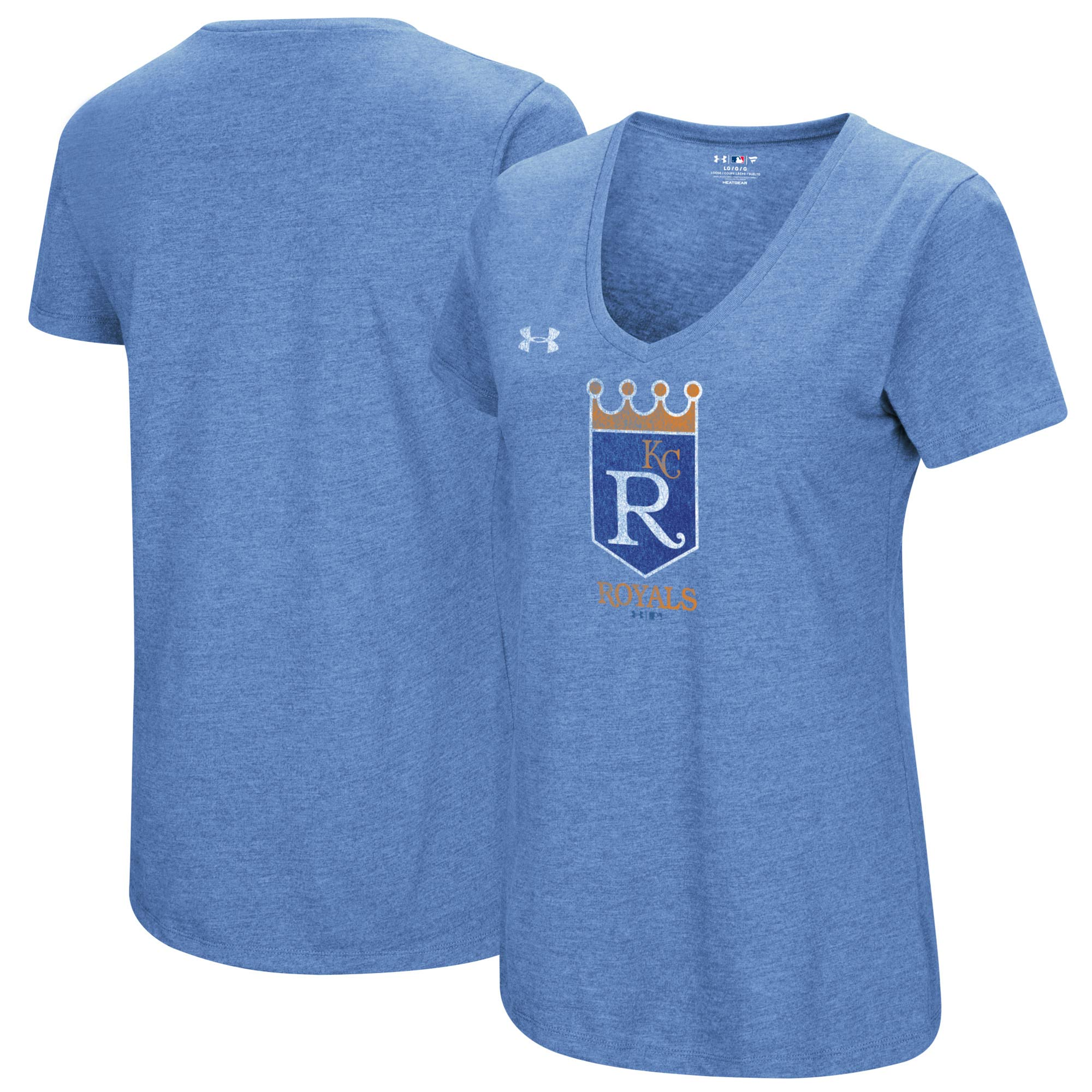 Kansas City Royals Under Armour Women's Cooperstown Collection Logo Performance Tri-Blend V-Neck T-Shirt - Heathered Light Blue