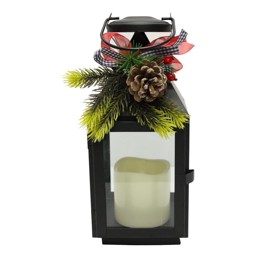 """Gerson 26656 11"""" Black Lantern Wavy Edge Battery Operated LED Candle Light with Timer by"""