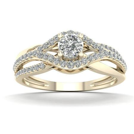 1/3ct TDW Diamond 10K Yellow Gold Bypass Engagement (Brass Engagement Ring)