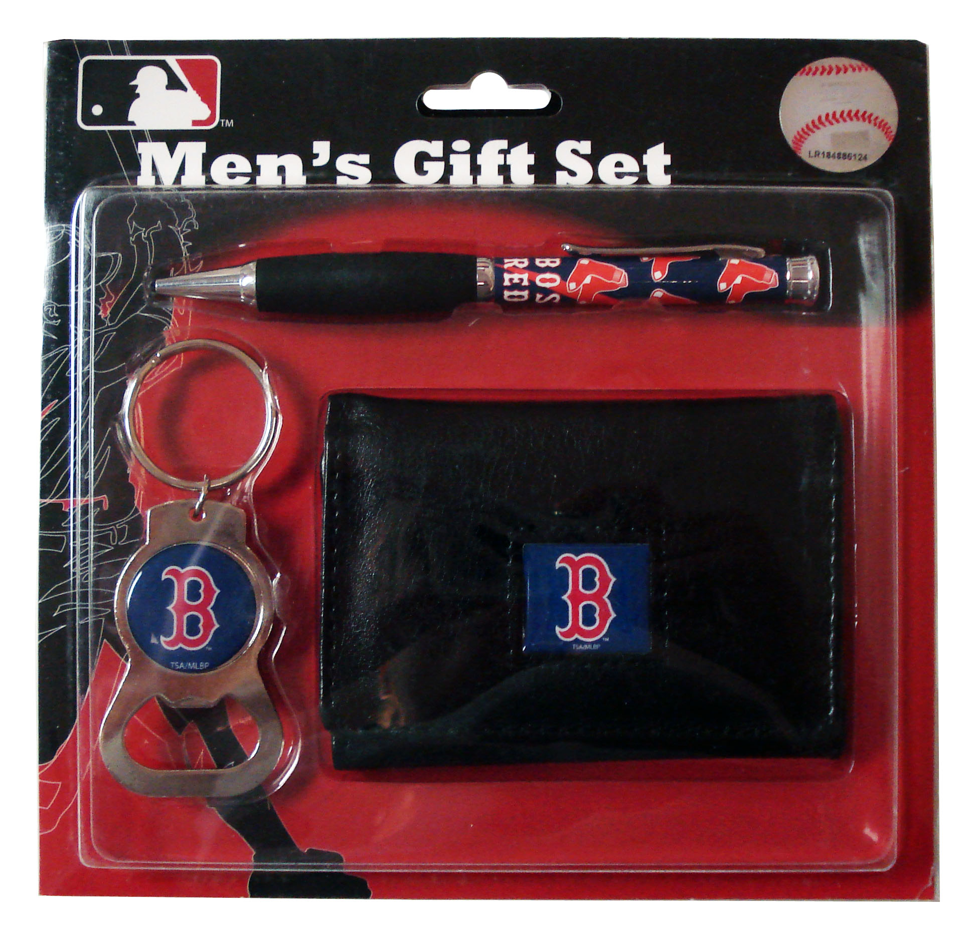 Boston Red Sox Tri-Fold Wallet With Pen & Keychain
