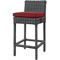 Contemporary Modern Urban Designer Outdoor Patio Balcony Garden Furniture Bar Side Stool Chair, Sunbrella Fabric Rattan Wicker, Grey Gray Red