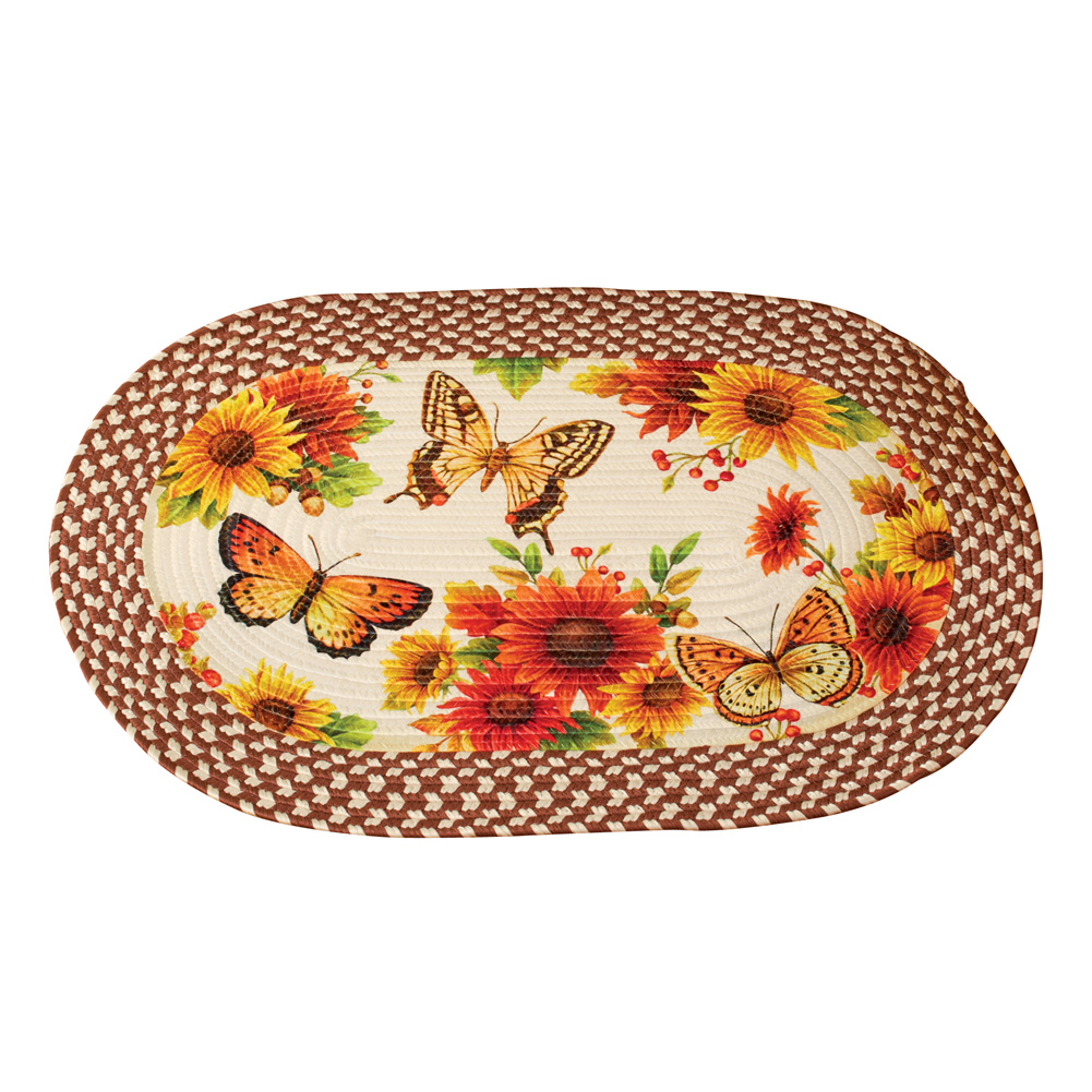 "Sunflower Floral Country Kitchen Décor Oval Braided Rug with Butterflies, 19 1 2"" x 30"" by Collections Etc"