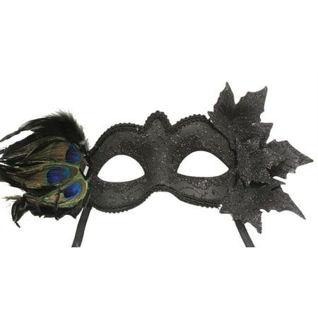 BLACK MASQUERADE MASK - Peacock Feathers - VENETIAN - Masquerade Peacock Masks