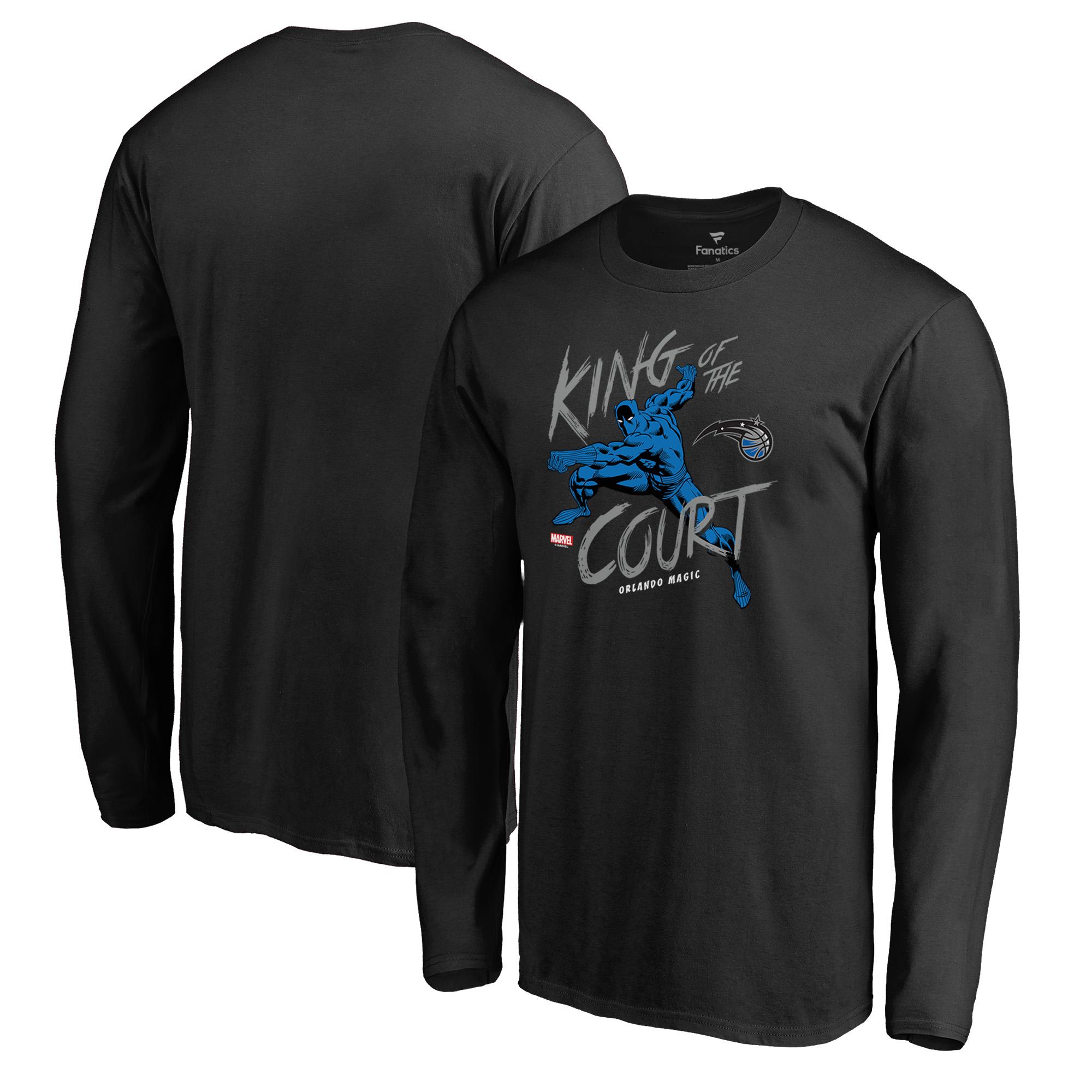 Orlando Magic Fanatics Branded Marvel Black Panther King of the Court Long Sleeve T-Shirt - Black
