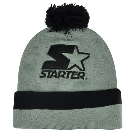 Starter Blank Grey Black Pom Pom Beanie Knit Cuffed Toque Solid Plain Hat Thick ()