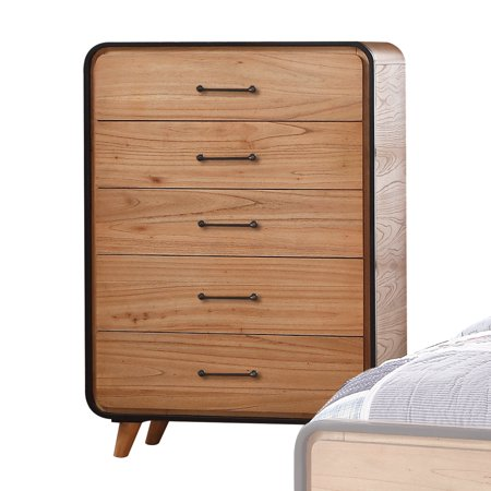 Acme Furniture Carla Oak and Black Chest with Five Drawers