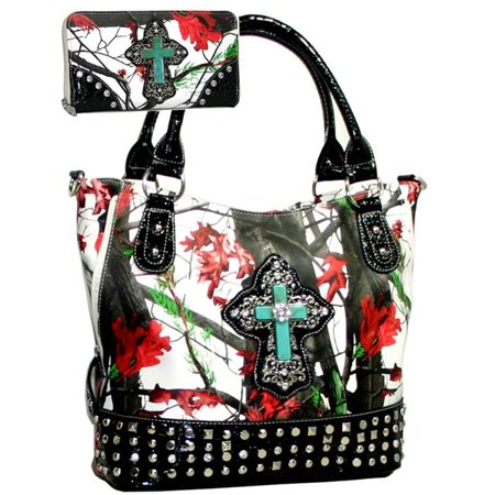 CRL662WC105SET-RD-Mul Western Camouflage Cross Accent Rhinestone Bling Purse with Matching Wallet - Red