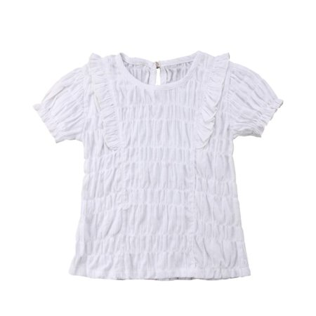 Toddler Baby Girl Summer Cute Plain Ruffle Lace Cotton T Shirts Tops Tee Clothes (Plain Girls Shorts)
