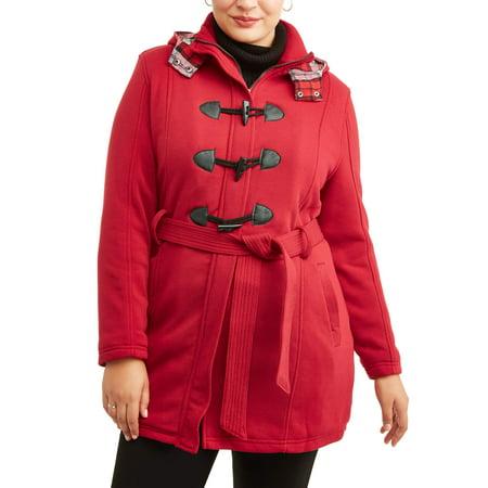 24d3eaa9c6d Yoki - yoki women s plus size sherpa lined toggle fleece jacket with  removeable plaid lined hood - Walmart.com