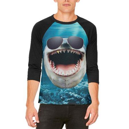 Big Goofy Shark In Sunglasses Mens Raglan T Shirt (Goofy Sunglasses)