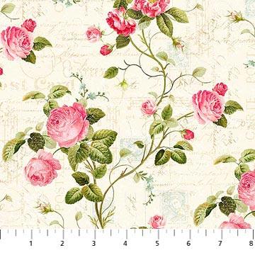 Hopelessly Romantic~Medium Roses Cotton Fabric by Northcott